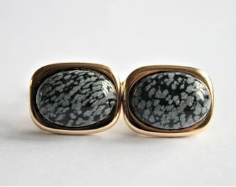 Black and white cufflinks. Goldplated  cuff Links. Snowflake Obsidian cufflinks. Gifts For Men. Groom Cufflinks.