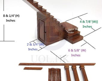 Dollhouse 1:12 Scale Miniature Hand Carved Left Landing Staircase With Stock Room [Finished in walnut]