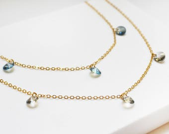 Circle Necklace, Crystal Dangle necklace, Dainty necklace, Dainty Gold necklace, Gold necklace, Simple necklace, Simple Gold Necklace