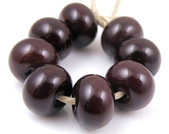 452 Very Dark Red Wine SRA Lampwork Handmade Artisan Glass Donut/Round Beads Made to Order Set of 8 8x12mm