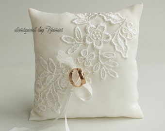 Ring bearer pillow with embroidered lace-ivory ring bearer, ring cushion, ready to ship