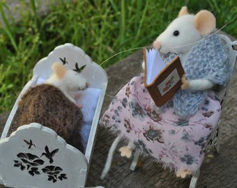 Family mice miniature mice Needle felt animals felted wool mouse Tine mice stuffed animal  fairytale animals felt mice miniature art doll