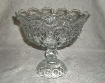 LE Smith Vintage Crystal Moon And Star Large Footed Compote