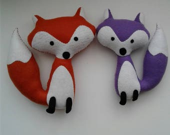 Adorable felt fox, wolf, stuffed animal, doll, plushie, softie, feltie, nursery decor, fall decor ready to ship