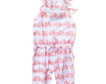 Cotton jumpsuit, Organic jumper, girl jumpsuit, bicycles print jumpsuit, red cycles jumpsuit, Trendy girl clothes, Girl summer fashion