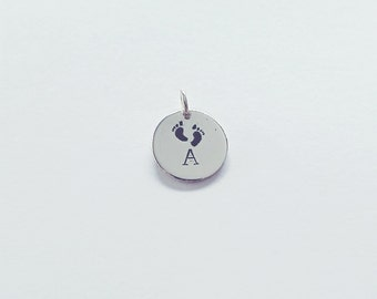 Baby Feet Hand Stamped Pendant