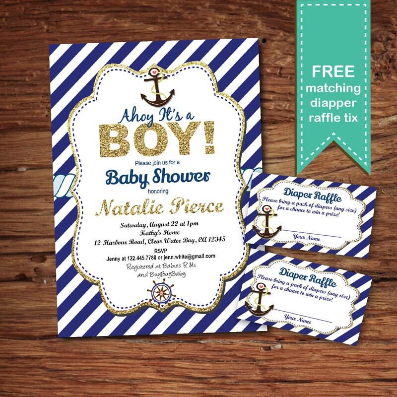Nautical baby boy shower invitation. Navy blue glitter gold