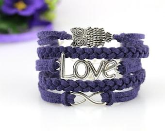 Owl Love Infinity bracelet Navy blue suede cord Christmas stocking filler Animal jewelry Cute Owl friendship bracelet Gift for girlfriend