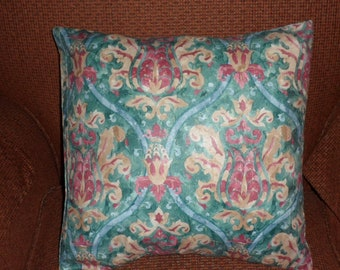 Polyester Rose and Cream Beige Motif Print on Turquoise-Green Background Pillow Cover/100 Percent Polyester Washable Pillow Cover 16 X 16