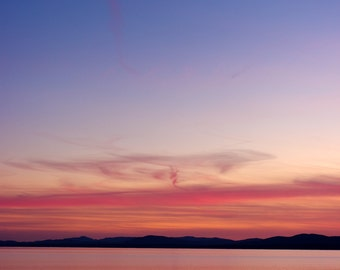 Sunset with Moon, Lake Champlain (Vertical)