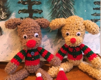 Christmas Crochet Poodle Toy Doll
