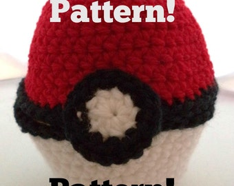 Crochet PATTERN for Large Pokemon-Inspired Hinged Monster Catching Ball - PATTERN ONLY!