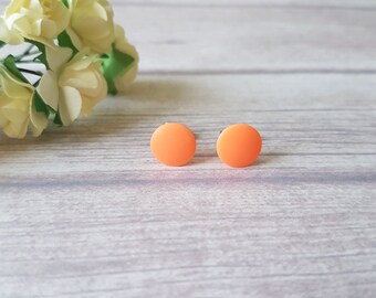 Neon orange earrings, Little girls earrings, Fun earrings, Orange stud earrings, Neon earrings, Neon jewelry, Cute earrings simple