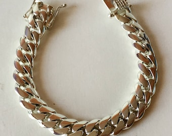 13 mm Miami solid Cuban link Fine .999 silver hand made bracelet  8.5 inches