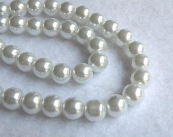 White glass pearl beads round 8mm full strand 7760GB
