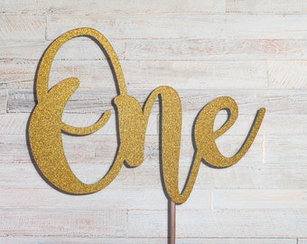 One cake topper - Number Cake Topper, First birthday cake topper, Cake Topper, Glitter Cake Topper, 1st birthday, Number Topper, Anniversary