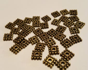 Square Spacers - 7mm Spacers - Bronze Spacers - Bronze Square Spacer - Antiqued Bronze - 50 pcs. - Lead Free - Cadmium Free