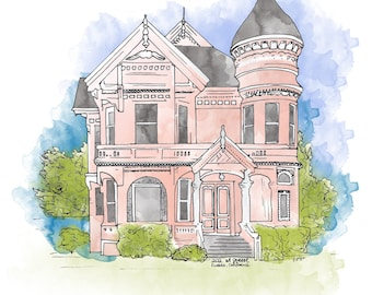 Custom House Portrait - Ink and Watercolor - House Painting