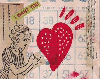 OOAK mixed media BINGO Valentine Card for him or her, original collage art, vintage greeting, heart art