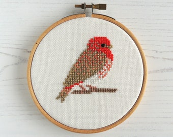 Cross stitch bird. Common Rosefinch cross stitch pattern. cross stitch rosefinch. small bird cross stitch. bird embroidery pattern.