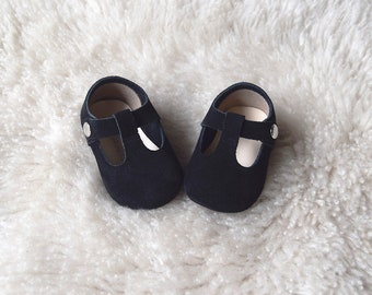 Black Leather Baby Shoes,  Baby Moccasins, Leather Mary Jane T Strap, Suede Baby Shoes, Baby Girl Shoes, Toddler Girl Shoes Black