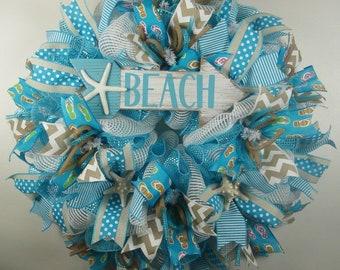 Beach Mesh Wreath, Summer Wreath, Summer Decor, Beach Decor, Summertime Fun Wreath
