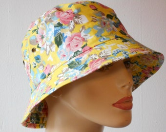 Bucket Hats Yellow with Pink Small Flowers Sun Hat Chemo Hat Head Cover Sun Protection Hat Medium Size Bucket Hat
