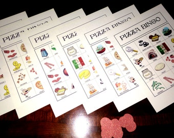 Pizza Bingo 34 Game Cards Instant Download PDF