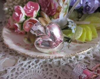 Glass Valentine Heart Ornaments-SILVER-Set of 4