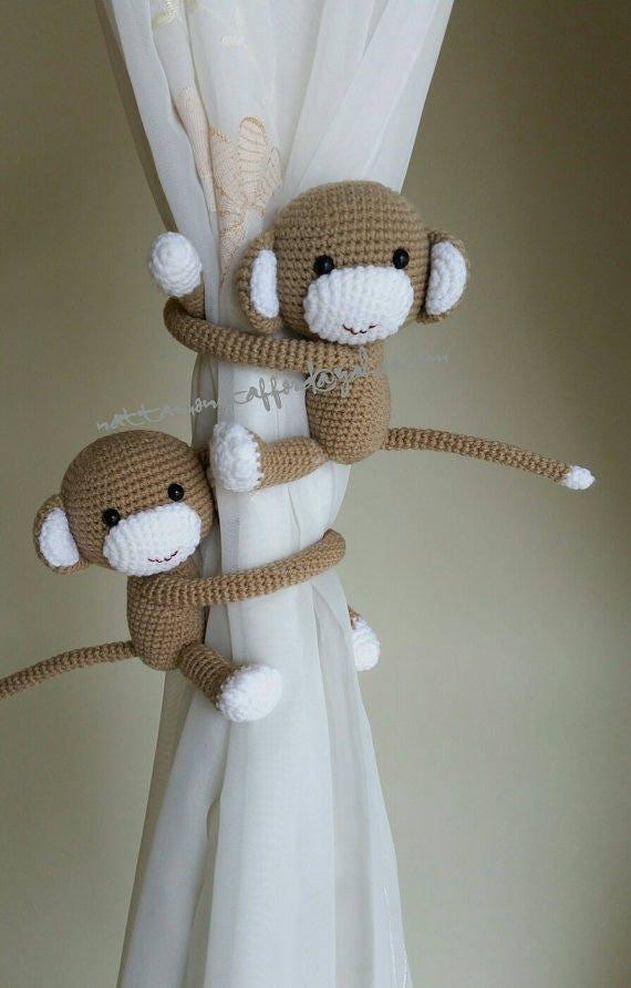 Ein paar Affen Vorhang Raffhalter häkeln Affen beide Seiten