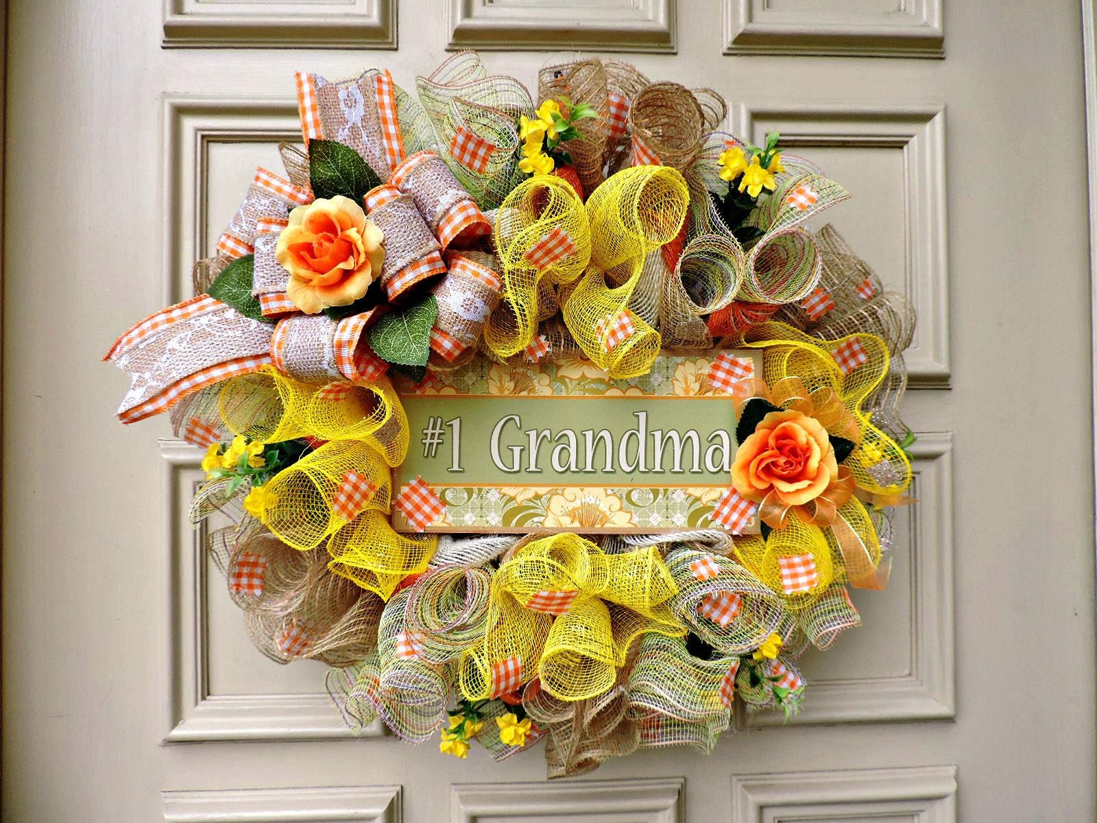 Grandma Wreath Orange Rose Wreath Grandma to be Wreath