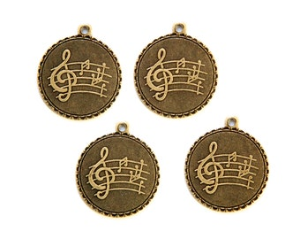 Brass Ox Clef Note Music Charm Drop with Loop (4) chr194KK