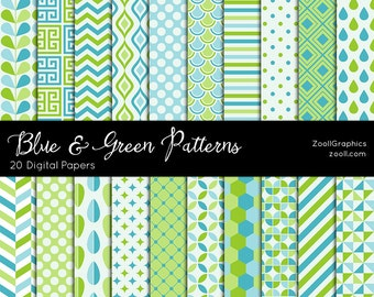 "Blue And Green Patterns, 20 Digital Papers 12""x12"", Photoshop Pattern File PAT Included, Seamless, Commercial Use, INSTANT DOWNLOAD"