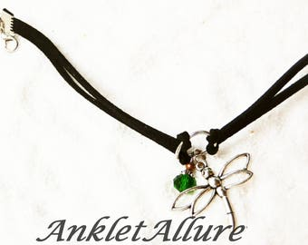 Anklet Black Ankle Bracelet Dragonfly Ankle Bracelet Green GUARANTEED Anklets for Women