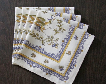 Set of  Cotton Napkins Provence Moustiers Birds in Blue - Set of 2 - 4 - 6 or 8 Napkins -