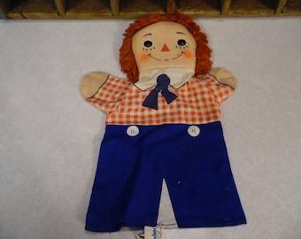 Raggedy Andy cloth hand puppet, Knickerbocker, Bobbs Merrill co.