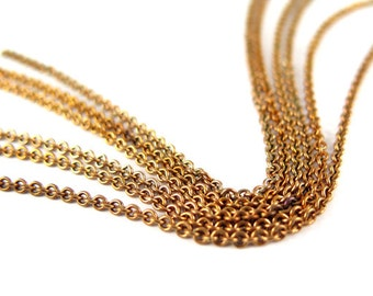 Vintage Red Brass Cable Chain (6 feet) (C619)