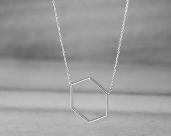 Hexagon Necklace, 14K Gold Necklace, White Gold, Geometric Necklace, Minimalist Jewelry, Dainty Necklace, Gift For Her, Women's Necklace