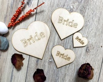 Wooden Hearts Bride Plywood Scrapbooking Embellishment Rustik Wedding Decor