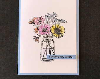 Hand Made Friendship Card, Hand Stamped Friendship Card, Hand Colored Encouragement Card, Three Dimensional Friendship Card