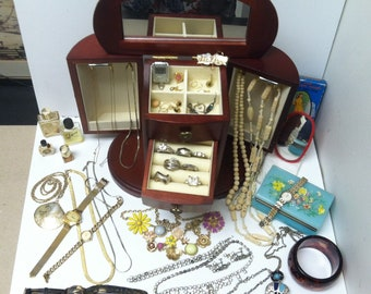 Vintage Estate 55pc Jewelry Lot In Mele Armoire Box Some Marked Metal & More