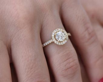 Halo engagement ring-Unique engagement  14K Yellow gold Diamond Ring-Engagement Ring-0.90 ct Halo diamond ring-diamond engagement ring