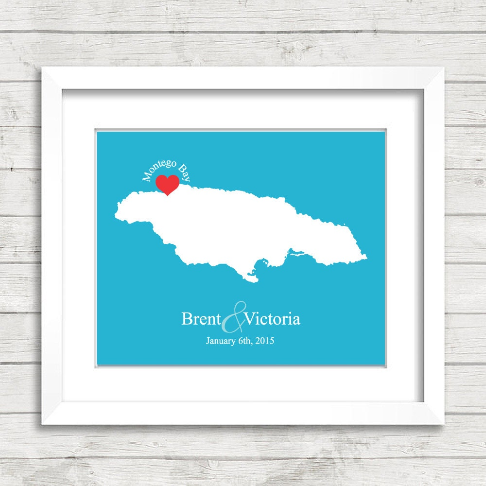 8x10 jamaica wedding map montego bay jamaica love map zoom sciox Images