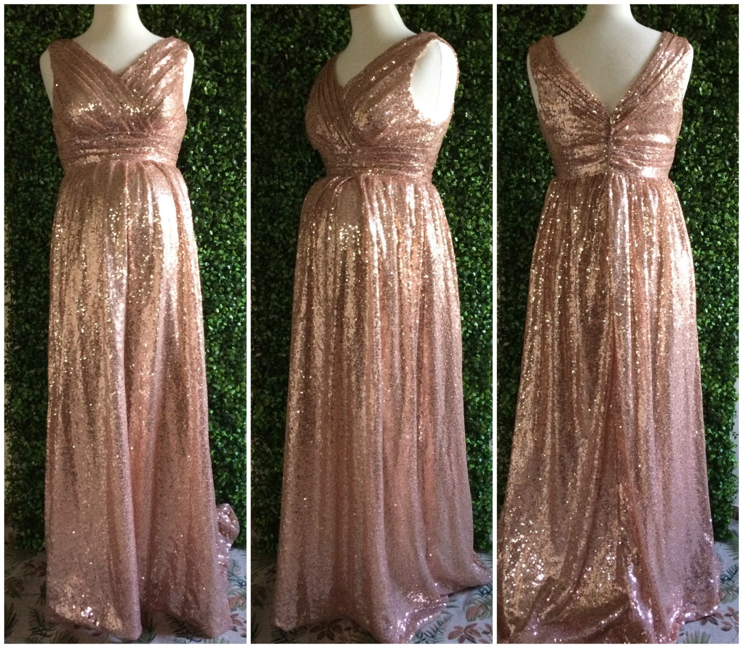 Sequin maternity bridesmaid dress rose gold sequin request a custom order and have something made just for you ombrellifo Images