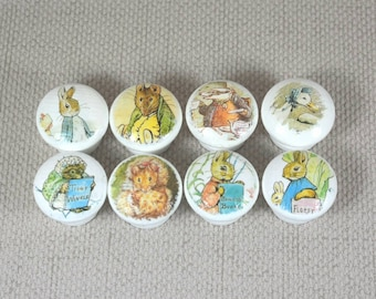 Beatrix Potter Knobs, Wooden Knobs, Drawer Handles, Dresser Knobs, 3.5cm dia. Sets Available. Free Gift Wrapping!