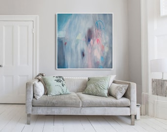 """GICLEE print, blue abstract painting with pink and white. Modern painting """"Cherry Bomb 3"""""""