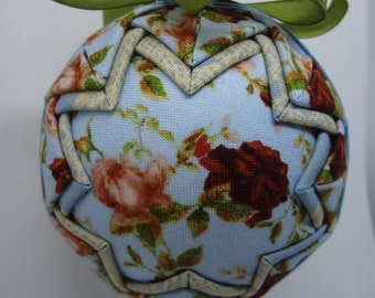 Quilted Fabric Ornament Spring Rose Roses Garden
