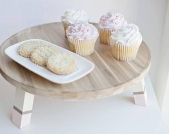 Modern wood hand painted cake stand||wedding decor||housewarming||kitchen decor||wedding gift