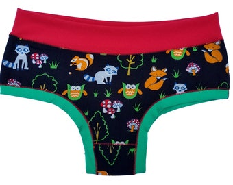 Funky, Unique, and Colorful Panties (Bombachas) - Cute Forest Animals - S/M