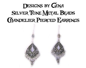 Antique Silver Tone Metal Melon Bead Chandelier Pierced Earrings DG0039E1 Handmade Handcrafted Original Designs by Gina